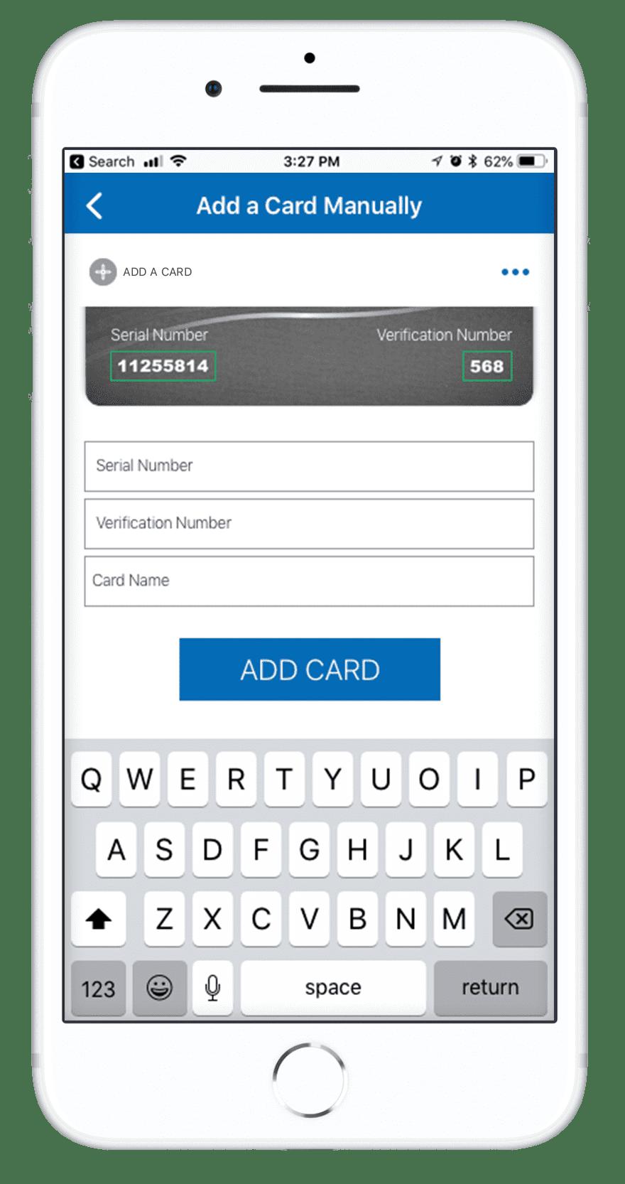 Orca Card 2 - Add a Card Manually Screen