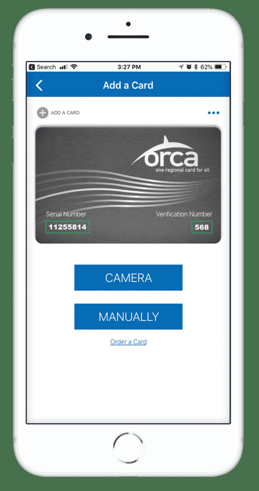 Orca Card 2 - Add a Card Screen