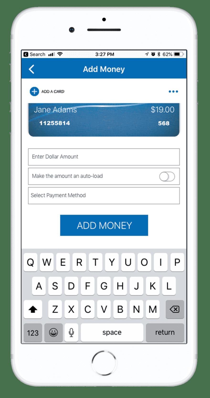 Orca Card 2 - Add a Money Screen