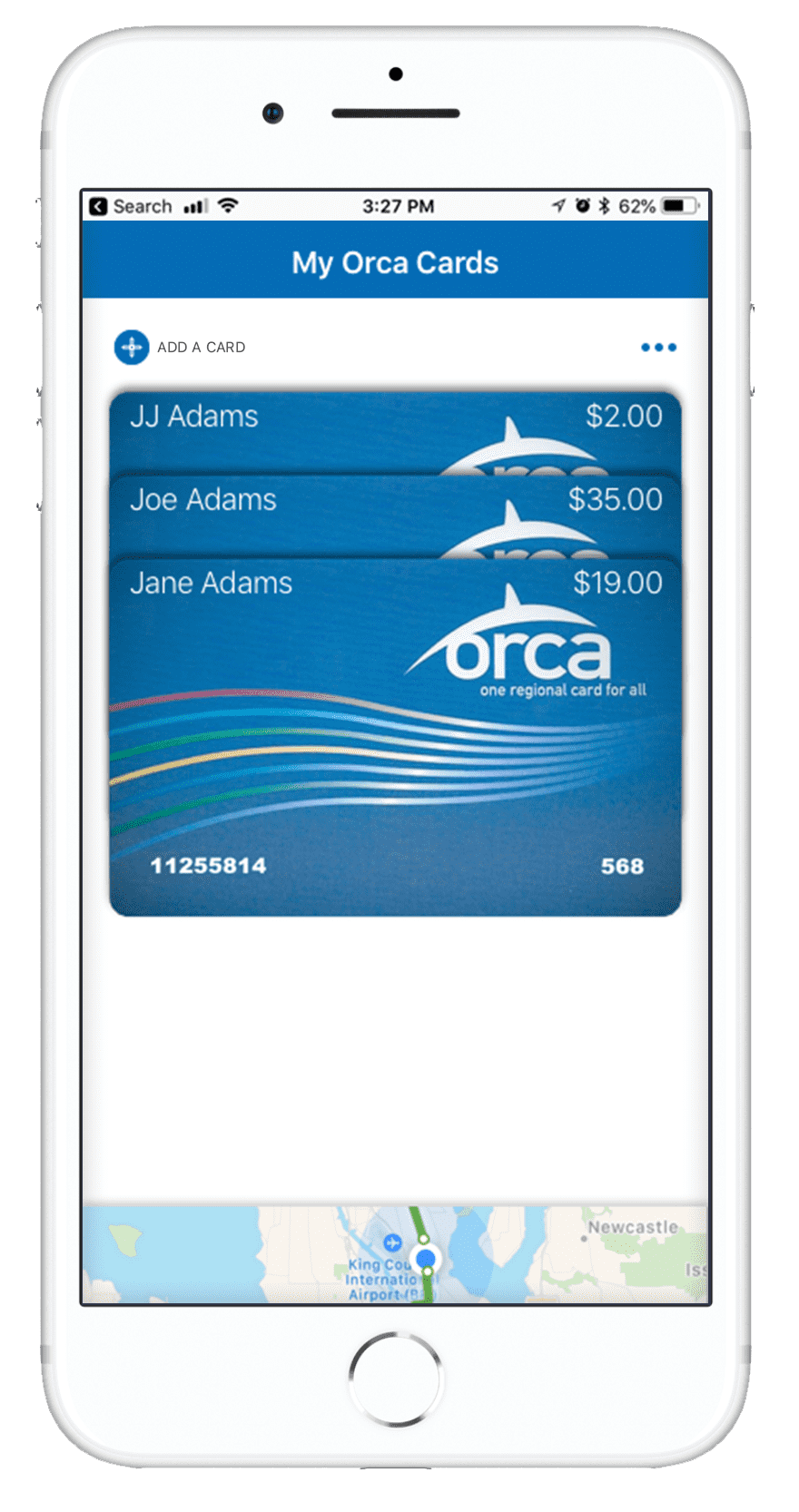 Orca Card 2 - Home - Map