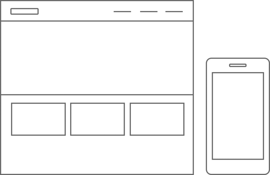 A desktop wireframe and mobile outline graphic