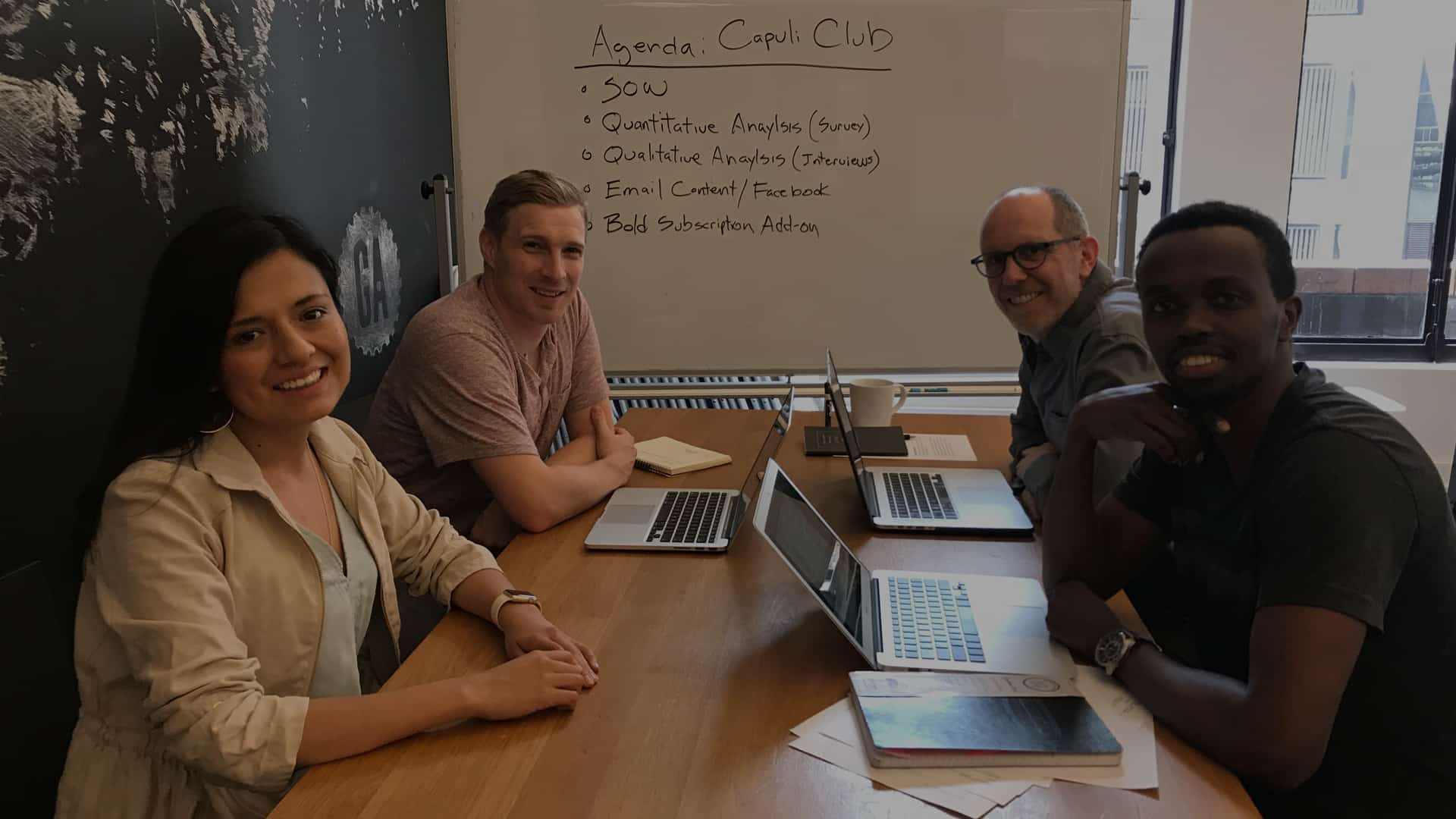The Capuli Club UX team with client