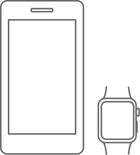 A mobile and Apple Watch outline graphic